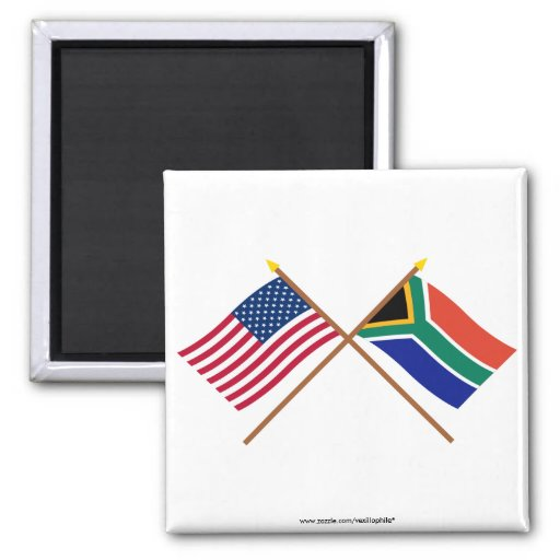 US and South Africa Crossed Flags Square Magnet
