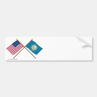 US and South Dakota Crossed Flags Bumper Sticker