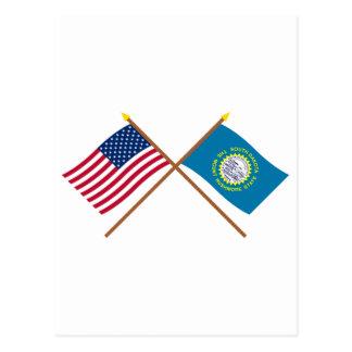 US and South Dakota Crossed Flags Postcard