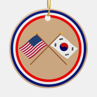 US and South Korea Crossed Flags Christmas Ornament