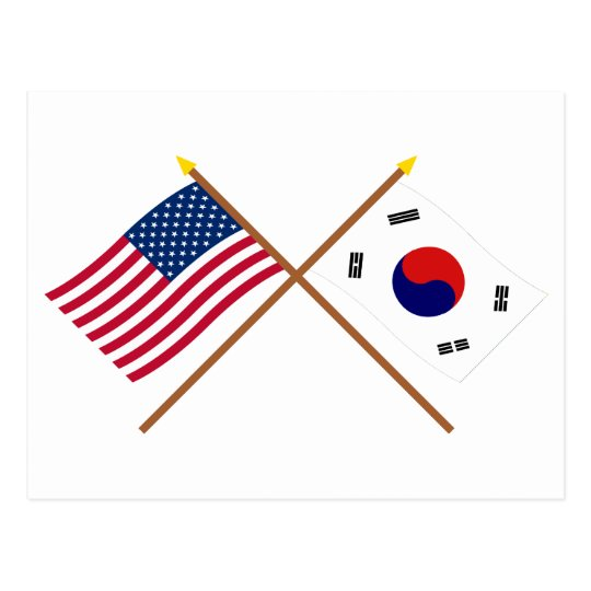 US and South Korea Crossed Flags Postcard