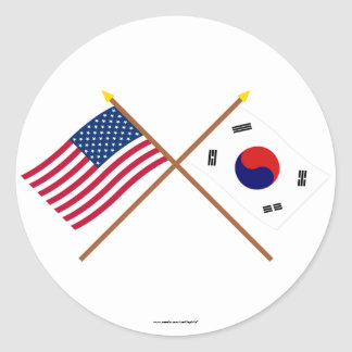 US and South Korea Crossed Flags Round Sticker