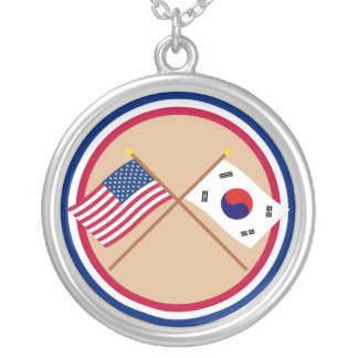 US and South Korea Crossed Flags Silver Plated Necklace