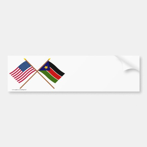 US and Southern Sudan Crossed Flags Bumper Stickers