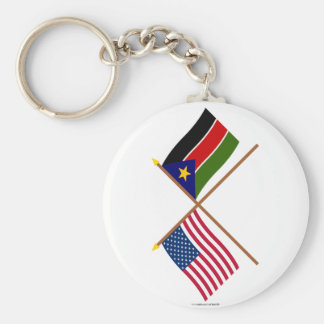 US and Southern Sudan Crossed Flags Key Ring