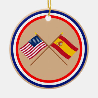 US and Spain Crossed Flags Christmas Ornament