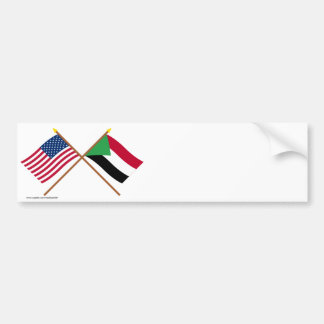 US and Sudan Crossed Flags Bumper Sticker