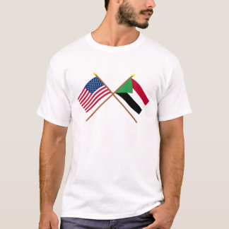 US and Sudan Crossed Flags T-Shirt