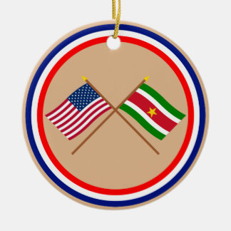 US and Suriname Crossed Flags Christmas Ornament