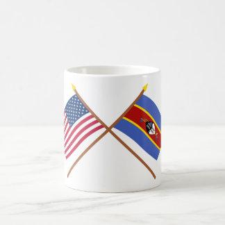 US and Swaziland Crossed Flags Basic White Mug