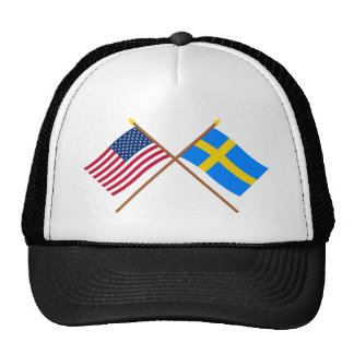 US and Sweden Crossed Flags Cap