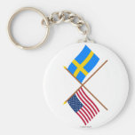 US and Sweden Crossed Flags Basic Round Button Key Ring