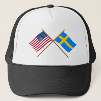 US and Sweden Crossed Flags Trucker Hat
