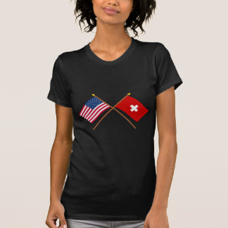 US and Switzerland Crossed Flags T-Shirt