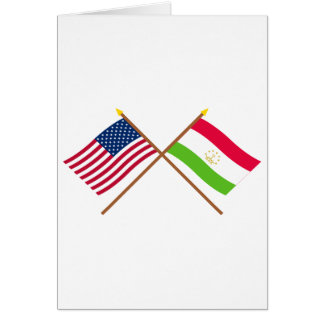 US and Tajikistan Crossed Flags Greeting Card