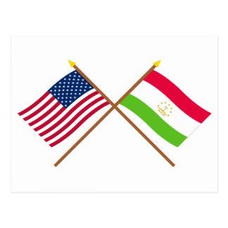 US and Tajikistan Crossed Flags Postcard