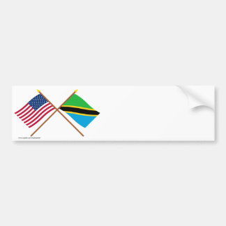 US and Tanzania Crossed Flags Bumper Sticker