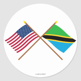 US and Tanzania Crossed Flags Classic Round Sticker