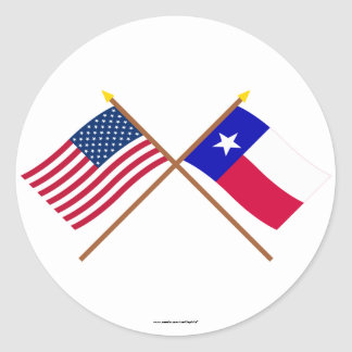 US and Texas Crossed Flags Round Stickers