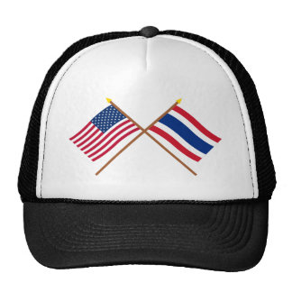 US and Thailand Crossed Flags Cap