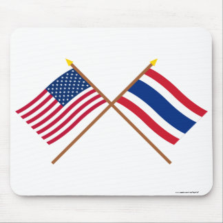 US and Thailand Crossed Flags Mouse Mat