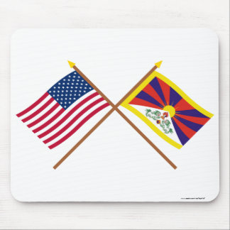 US and Tibet Crossed Flags Mousepads