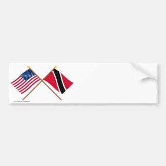 US and Trinidad & Tobago Crossed Flags Bumper Sticker