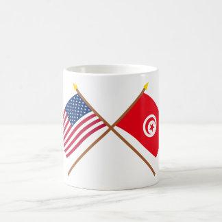 US and Tunisia Crossed Flags Coffee Mug