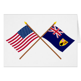 US and Turks & Caicos Crossed Flags Greeting Card