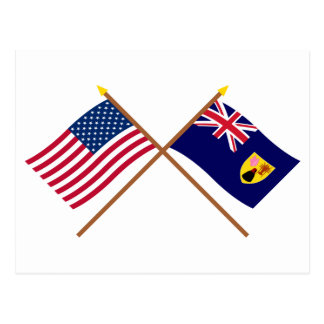 US and Turks & Caicos Crossed Flags Postcard