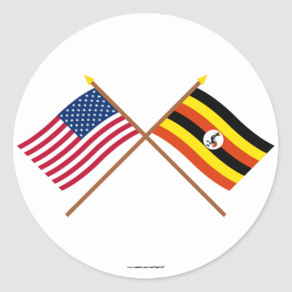 US and Uganda Crossed Flags Classic Round Sticker