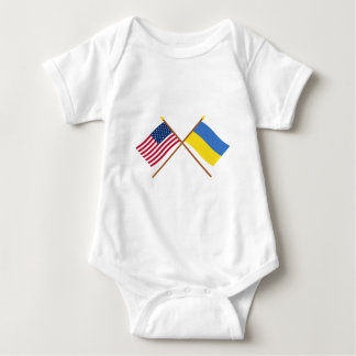 US and Ukraine Crossed Flags Baby Bodysuit