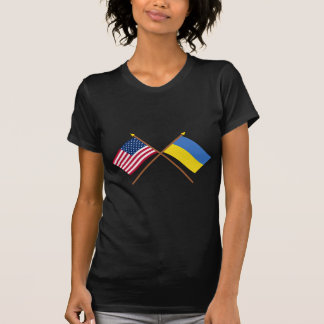 US and Ukraine Crossed Flags T-Shirt