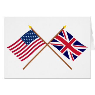 US and United Kingdom Crossed Flags Card