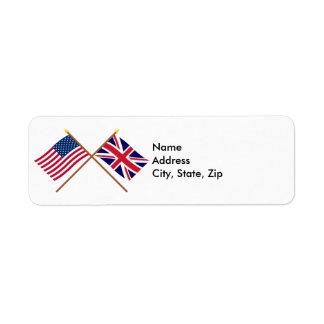 US and United Kingdom Crossed Flags Return Address Label