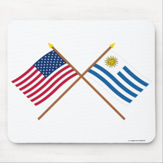 US and Uruguay Crossed Flags Mouse Pad