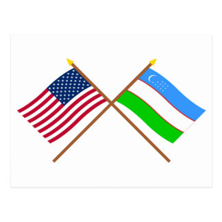 US and Uzbekistan Crossed Flags Post Cards