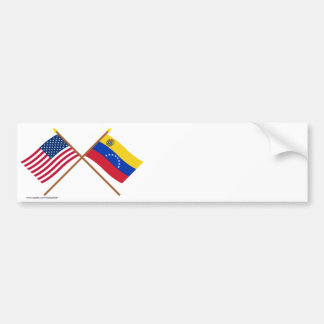 US and Venezuela Crossed Flags Bumper Sticker