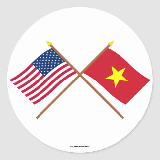 US and Vietnam Crossed Flags Classic Round Sticker