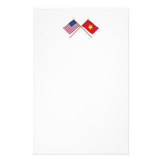 US and Vietnam Crossed Flags Stationery