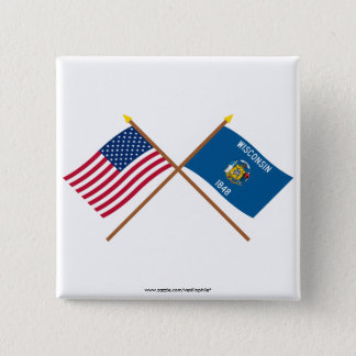 US and Wisconsin Crossed Flags 15 Cm Square Badge