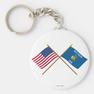 US and Wisconsin Crossed Flags Key Ring