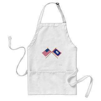 US and Wyoming Crossed Flags Standard Apron