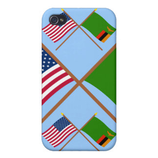 US and Zambia Crossed Flags Cover For iPhone 4