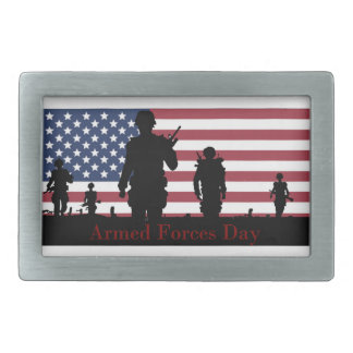 US Armed Forces Day American Flag with Soldiers Belt Buckles