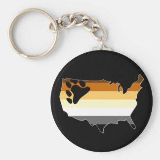 US Bear Pride Basic Round Button Key Ring