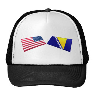 US & Bosnia and Herzegovina Flags Cap