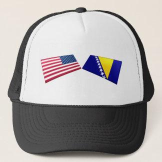 US & Bosnia and Herzegovina Flags Trucker Hat