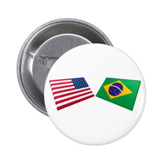 US & Brazil Flags 6 Cm Round Badge