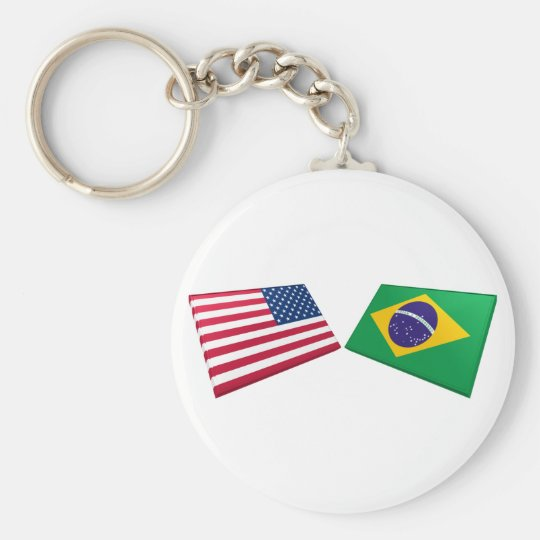 US & Brazil Flags Basic Round Button Key Ring
